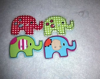 Pack Of 10 Cute Wooden Elephants Buttons
