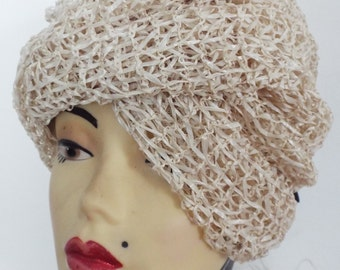 VINTAGE Ladies Hat  1950's Turban Cross Over Front Beige open weave in Straw with black tie back