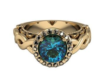 14k Yellow Gold Alexandrite Ring, Diamond Ring, Modern Style Gold Ring,Wedding Ring,Proposal Ring,Engagement Ring, Custom Gold Ring