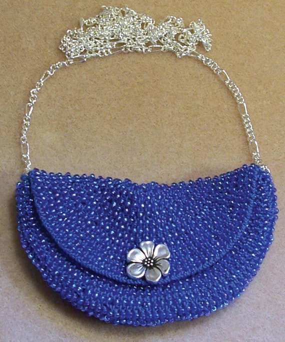 Bead Knitted Bag Around Necklace Pattern PDF with step by step