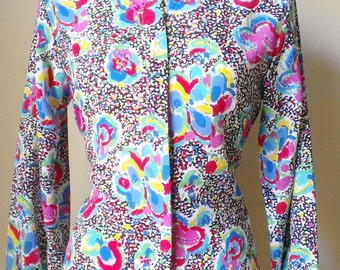 Vintage 1980's Colorful Long-Sleeved button top