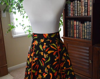 Half Apron Vintage Style Fully lined Festive Chile Pepper Print Ready to Ship
