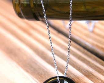 Recycled Wine Bottleneck Piece Necklace - Dark Olive