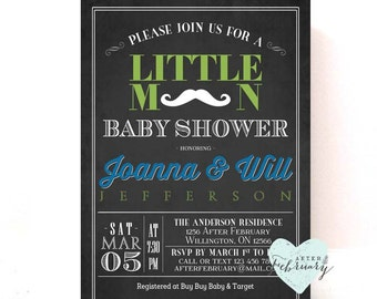 Little Man Baby Shower Invitation - Mustache Baby Shower - Charcoal Black Blue Green - Printable OR Printed No.309BABY