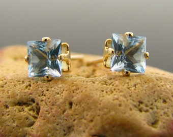Gold filled earrings, blue topaz earrings  - topaz stud earrings 5x5 mm - gold filled stud earrings sky blue topaz studs, topaz earings