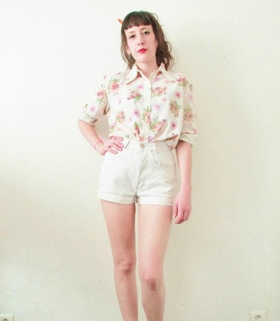 chemise fleurie ann es 70 blanche imprim fleurs floral vieux. Black Bedroom Furniture Sets. Home Design Ideas