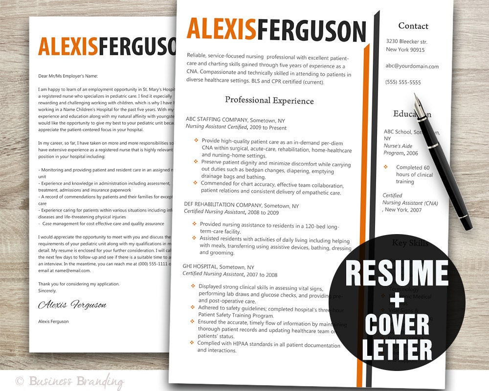 orange grey resume template word    cover letter template