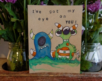 Cute Monster Greeting Card Pack-Handmade-Free Shipping-Custom-Painting-Art
