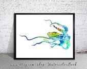 Blue Octopus Watercolor Print, watercolor painting, watercolor art, Illustration,  home decor wall art, Octopus art, watercolor animal,