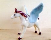 Pegasus handpainted ceramic animal figurine charm necklace