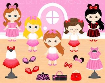 Minnie Mouse tutu Clipart,  Minnie Mouse Birthday Clipart, Mickey Mouse Clipart