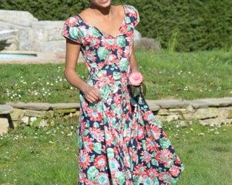 Vintage NANCY JOHNSON colorful floral print Garden Party Dress