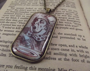 Alice In Wonderland Necklace, Mad Hatter, Vintage look, Glass Dome Pendant
