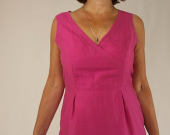 Summerdress, sleeveless in mangenta - coloured