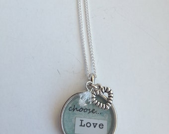 Choose Love - Bezel Necklace with Charms