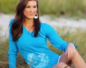 Ego Girl Outfitter Long Sleeve Tear Drop V Neck Tee, in Turquoise, Featuring a White Mahi Dolphin Fish