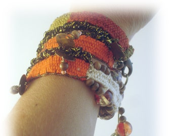 Orange cotton handwoven triple twisted bracelet/ ethnic jewelry/ boho/ hippie chic/ made in greece/ gift/ MADE TO ORDER