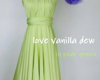 Bridesmaid Dress Infinity Dress Pear Green Knee Length Wrap Convertible Dress Wedding Dress