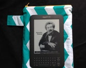 """Water Proof-Resistant 7"""" Tablet Zipper Bag - teal and white chevron, yellow zipper"""