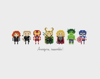 Avengers, Assemble! Minis Cross Stitch Pattern PDF Instant Download