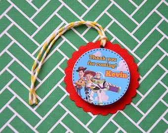 12 Personalized Disney Toy Story Thank You Tags Birthday Party Woody Buzz Lightyear Jessie 3D - 2 Layers