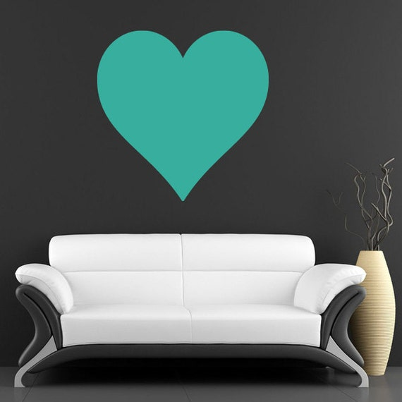 Large Heart Wall Decor : Large love heart removable vinyl wall art by vividwalldecals