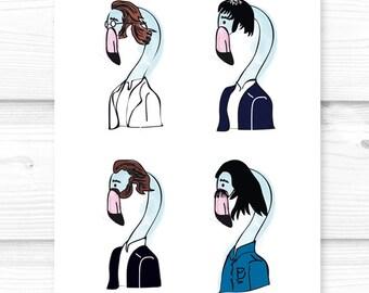 Print The Beatles Flamingos digital ilustration - (Famous Flamingos)