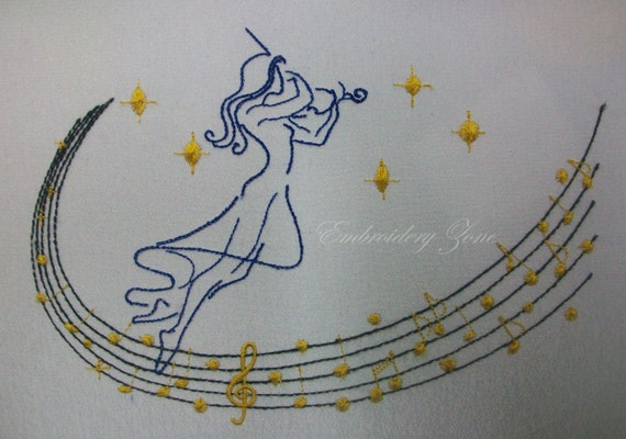 machine embroidery design music girl with violin for