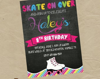 Roller Skating Birthday Party Invitation- Digital Personalized File to Print