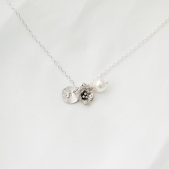 Personalized Initial Silver Flower Nnecklace, Swarovski Pearl Necklace