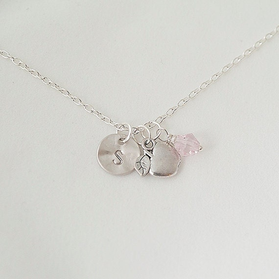 Birthstone Necklace, Personalized Initial Silver Apple Nnecklace, Swarovski Crystal Necklace
