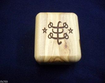 "Baha'i olive wood hand made box with Bahai ""Ringstone"" Symbol"