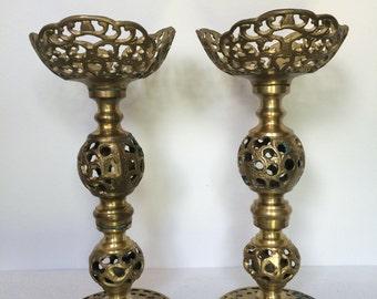 Vintage Ornate Filigree Brass Candle Holders