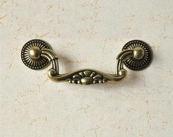 "3""Shabby Chic Dresser Pulls Drawer Pull Handles Bail Pulls Antique Brass  Kitchen Cabinet Handle Knobs Furniture Hardware JY"