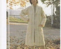Aran Wool Jacket, Womens Jacket, Ladies Aran Wool Coat, Aran Wool Pattern, Aran Knitting, Ladies Jacket Pattern only