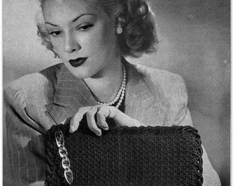 Vintage Crochet Pattern -  Digitally Restored 1940's Handbag Purse Pattern - PDF - Clutch Bag - Instant Download