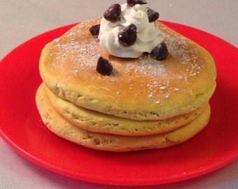 Chocolate chip pancakes! (1 stack)- 18 inch doll miniature food (American Girl, Our Generation, etc)