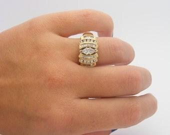 1.00 Carat Total Weight Diamond Cluster Ring. 14K Yellow Gold. LGL