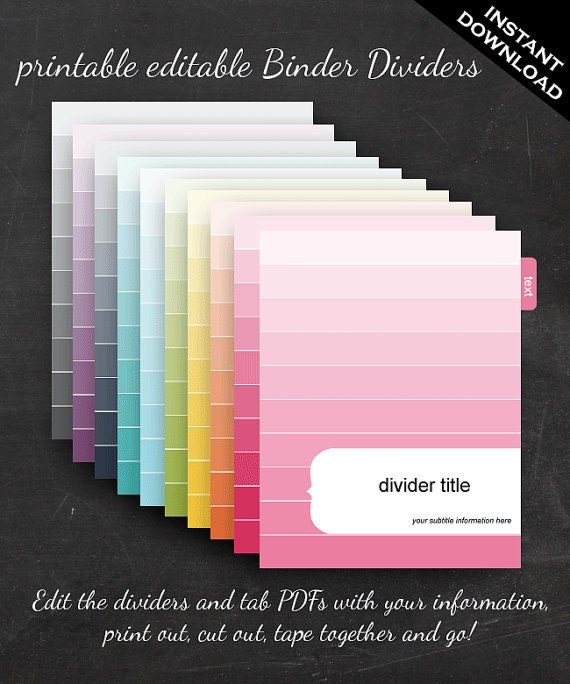 Binder Dividers Printable Editable Rainbow Ombre Theme