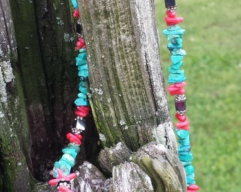 Markdown- Beautiful Turquoise & Coral Necklace