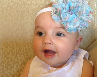 Blue Flower Headband, Big Flower Headband, Newborn Headband, Girls Headband, Turquoise Headband, Homemade Headband, Headband Baby
