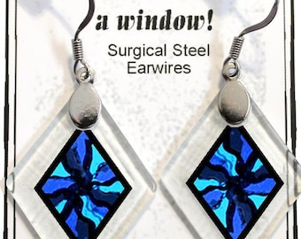 "Earrings ""Serendipity in Blue"" from rescued, repurposed window glass~Lightening landfills one tiny glass diamond at a time!"