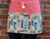 Linen Half Apron   Cafe Apron in Coral Linen with Feather Print Pocket   s/f Designs