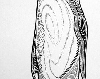 Black & White Penguin Ink Drawing