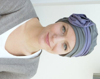 Chemo hat | stylish cancer headwear | hat for womens' hair loss | chemo headwear - avail. in taupe/mauve soft jersey, sized XS S M L XL