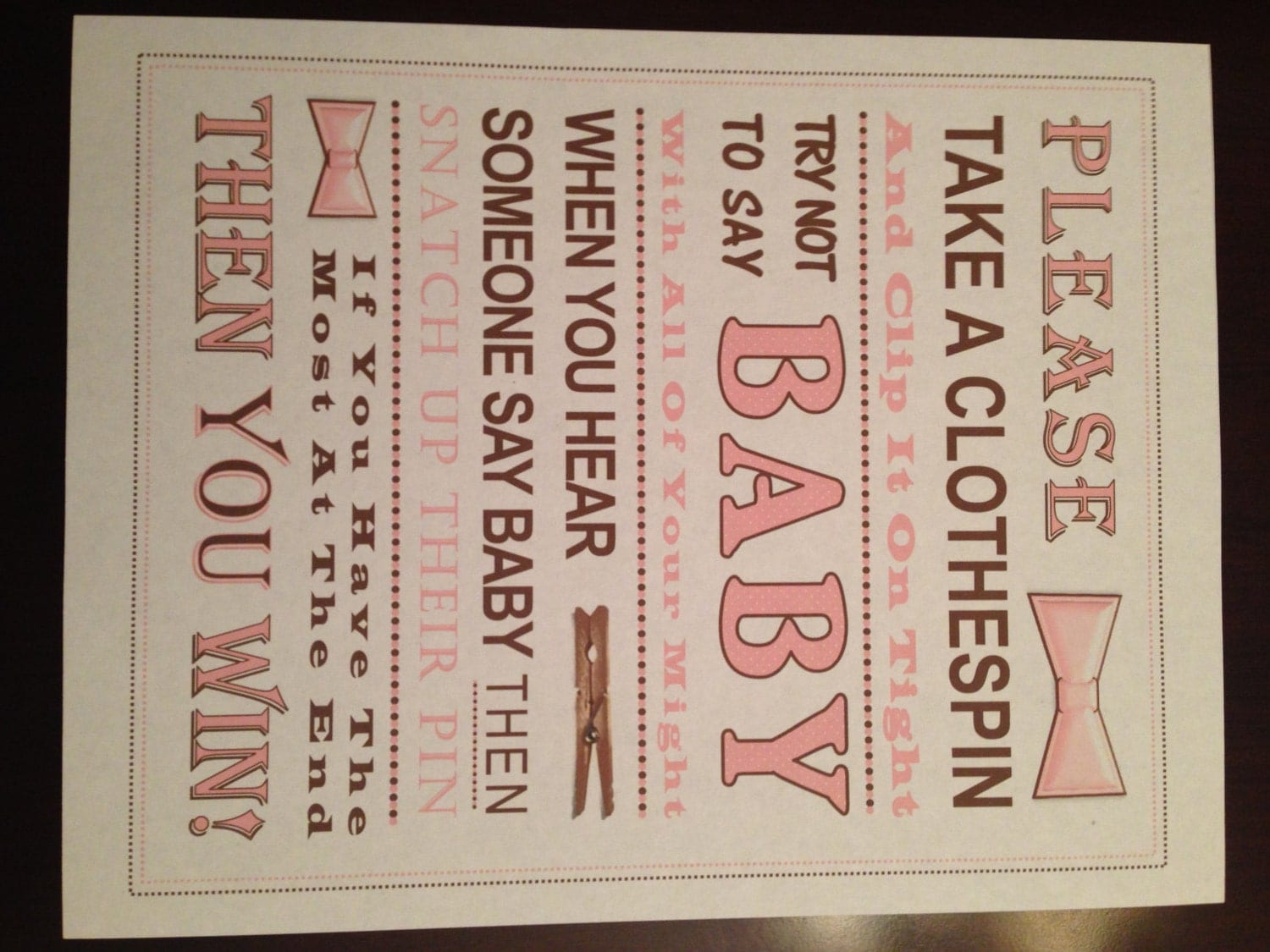 baby shower game don 39 t say baby sign pink