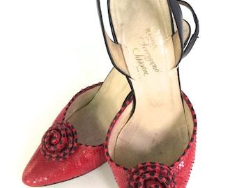 Vintage 1960's Rosina Ferragamo Schiavone Red Leather Snakeskin Pumps/Heels    Madmen Heels