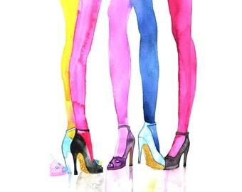 Watercolor fashion shoe art , fashion illustration print , Wall art , Art print,  Colorful fashion art