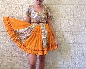 Vintage Retro Orange Print Dress