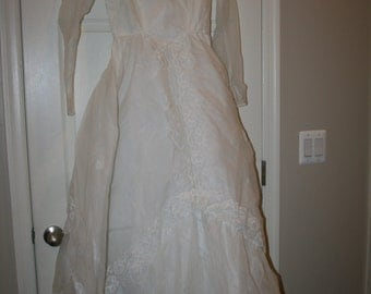 Vintage Wedding Gown with Lace Trim